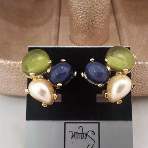 SEQUIN Cabochon GOLD PLATED CLIP EARRINGS